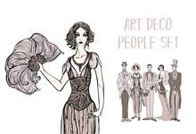 Art Deco People Set. Gatsby St...