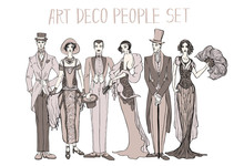 Art Deco People Set. Gatsby St...