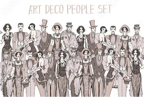 Photo  Art deco people set