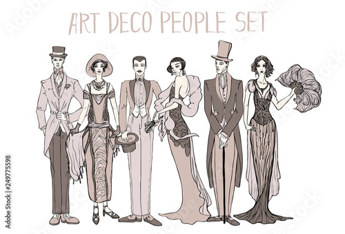 Art Deco People Set Gatsby Style Set Group Of Retro Woman And Man Design In 20 S Style Sketch Style Mafia And Gangsters Buy This Stock Photo And Explore Similar Images At