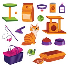 Pet Shop Icons Set. Cat Goods Vector Cartoon Illustration. Animal Food, Toys, Care And Other Stuff