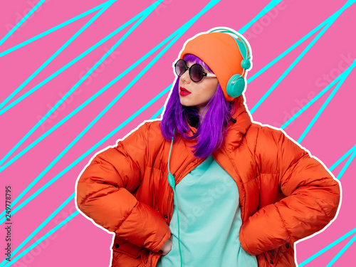 Cadres-photo bureau Magasin de musique girl with purple hair in jacket with headphones