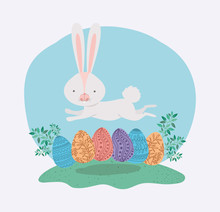 Cute Rabbit With Eggs Painted ...