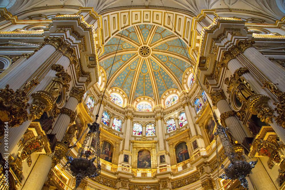 Fototapety, obrazy: Granada, Spain-October 15, 2017: Exquisite Interiors of landmark Granada Royal Cathedral