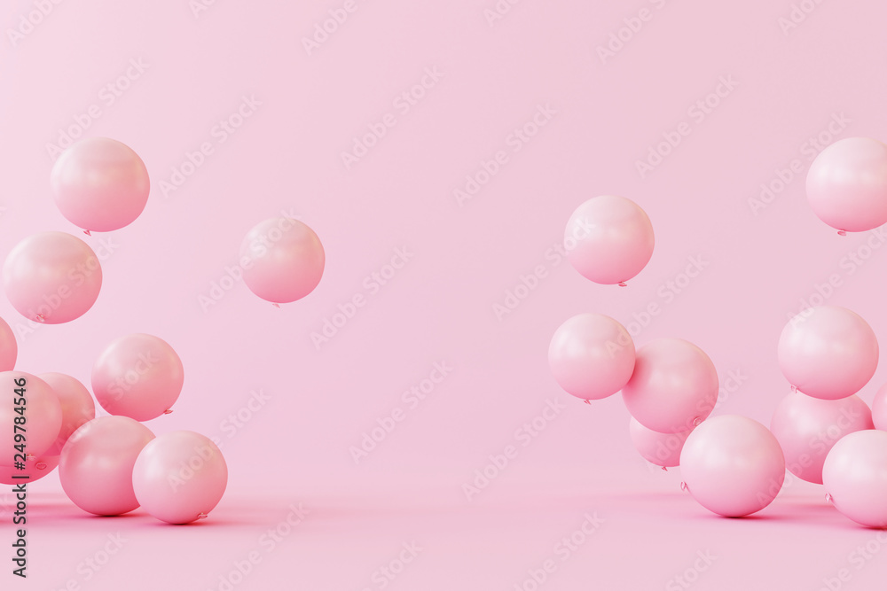 Fototapeta Balloons on pastel pink background. 3d rendering