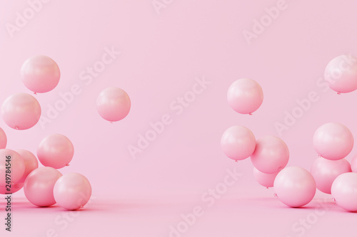 Balloons on pastel pink background. 3d rendering