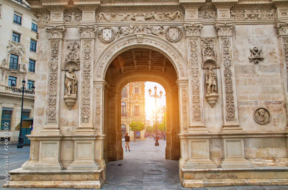 Fototapety, obrazy: Seville streets at an early sunset in the historic center