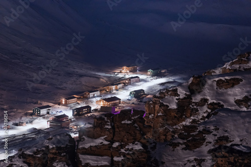Poster Las Vegas norway landscape ice nature of the city view of Spitsbergen Longyearbyen Plateau Mountain Svalbard arctic ocean winter polar night view from above