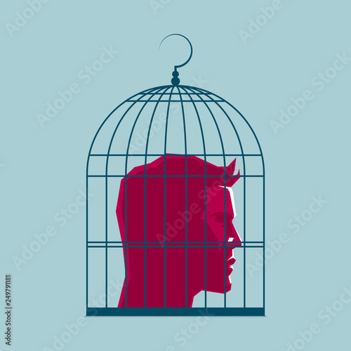Human head in a birdcage, surreal concept design. Canvas Print