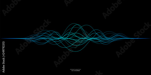 Obraz Vector wave lines flowing dynamic in blue green colors isolated on black background for concept of AI technology, music, sound - fototapety do salonu