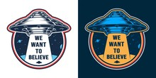 Vintage Alien Invasion Colorful Emblem