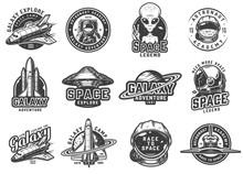 Vintage Monochrome Space Emblems Set