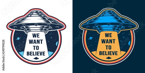 Canvas Vintage alien invasion colorful emblem