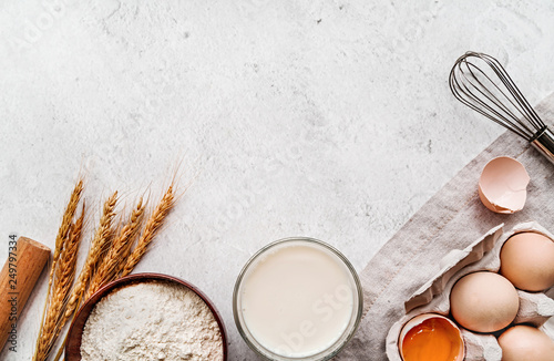 Baking ingredients with a linen tablecloth on marble background Canvas