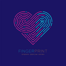 Heart Pattern Fingerprint Scan Logo Icon Dash Line, Love Valentine Concept, Editable Stroke Illustration Pink And Blue Isolated On Dark Blue Background With Fingerprint Text And Space, Vector Eps10