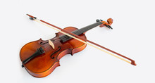 Violin In White Background With Bow