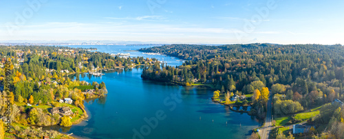 Fototapeta Bainbridge Island Panoramic Aerial Birds Eye View Winslow Seattle Mount Rainier