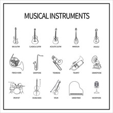 Set Of Linear Icons With Musical Instruments. Guitars, Wind Instruments, Strings, Keyboards, Percussion Instruments And A Microphone With A Gramophone. Outline.Isolated On White Background. Vector