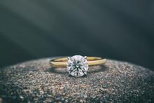 Gold Diamond Ring. Jewelry Background
