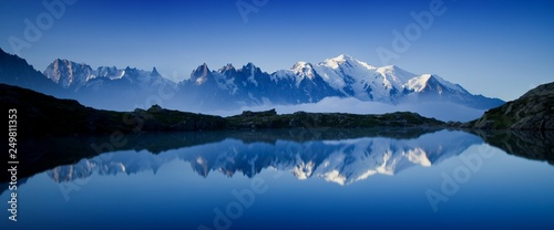 Wall Murals Alps Colorful summer view of the Mont Blanc (Monte Bianco) on background, Chamonix location. Beautiful outdoor scene in Vallon de Berard Nature Reserve, Aiguilles Rouges, Graian Alps, France, Europe