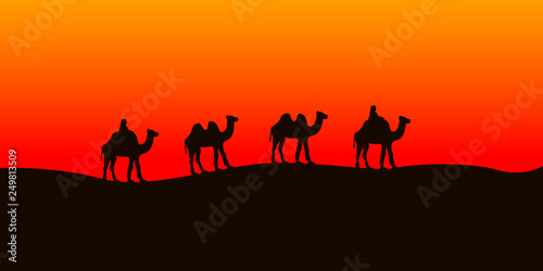 Fotografering  Camel caravan going in the Sahara desert. Vector illustration.