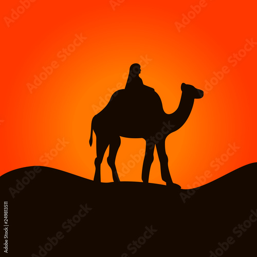 Fotografering  Camel and cameleer in Sahara desert. Vector illustration.