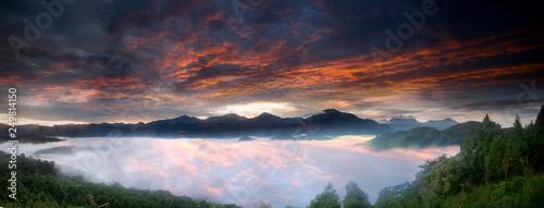 Photo Beautiful Jinlong Mountain Sunrise, Taichung, Taiwan