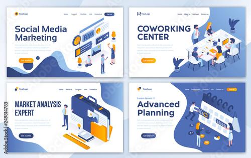 Flat Modern design of website template - Business and Marketing set Wallpaper Mural