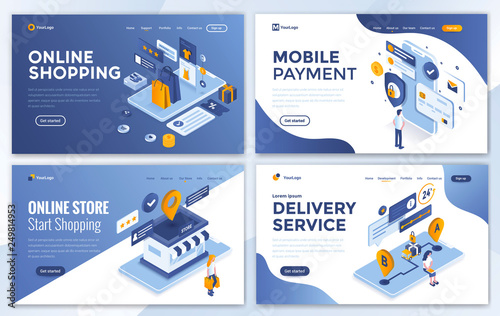 Set of Landing page design templates for Online Shopping, Mobile Payment, Online Store and Delivery Service Wallpaper Mural