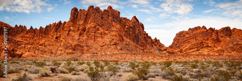 Spoed Foto op Canvas Rood traf. Valley of Fire Sandstone Mountain Landscape