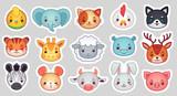 Fototapeta Fototapety na ścianę do pokoju dziecięcego - Cute animal stickers. Smiling adorable animals faces, kawaii sheep and funny chicken cartoon vector illustration set