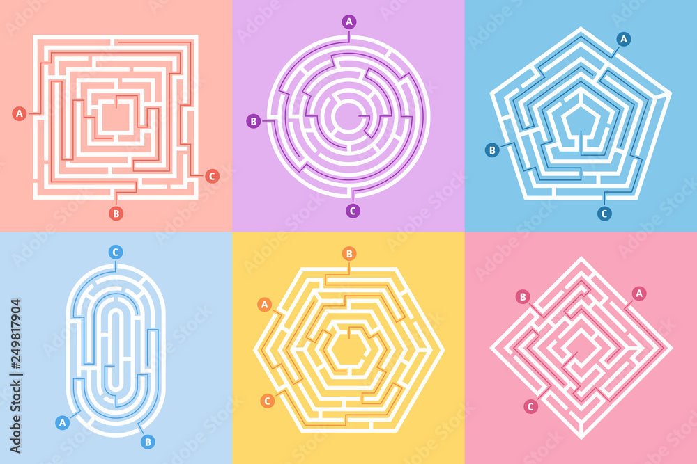 Fototapeta Labyrinth game. Maze conundrum, labyrinth way rebus and many entrance riddle vector concept illustration set