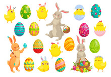 Easter Bunny Eggs. Cute Rabbit, Spring Chicks And Colorful Egg Vector Illustration Set