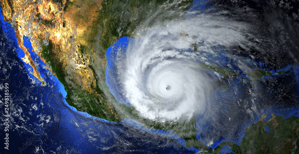 Fototapety, obrazy: hurricane approaching the American continent visible above the Earth, a view from the satellite. Elements of this image furnished by NASA.