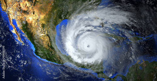 hurricane approaching the American continent visible above the Earth, a view from the satellite. Elements of this image furnished by NASA.