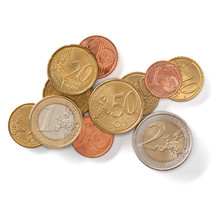 Euro Coins Isolated On White B...