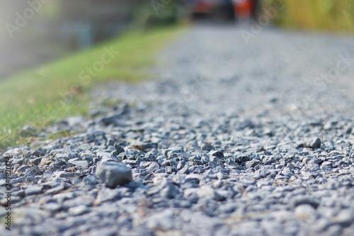Obraz na plátně gray granite gravel walking way