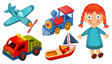 Kids Toys Isolated On White Background Illustration