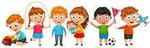 Funny Kids Isolated Illustration