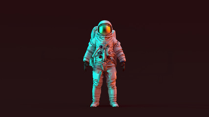 Astronaut with Gold Visor and White Spacesuit with Red and Blue Moody 80s lighting Front 3d illustration 3d render