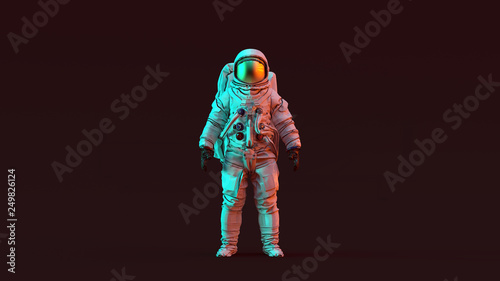 Fotografering Astronaut with Gold Visor and White Spacesuit with Red and Blue Moody 80s lighti