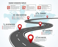 Business Road Map. Strategy Timeline With Milestones, Way To Success. Workflow, Planning Route Vector Infographic