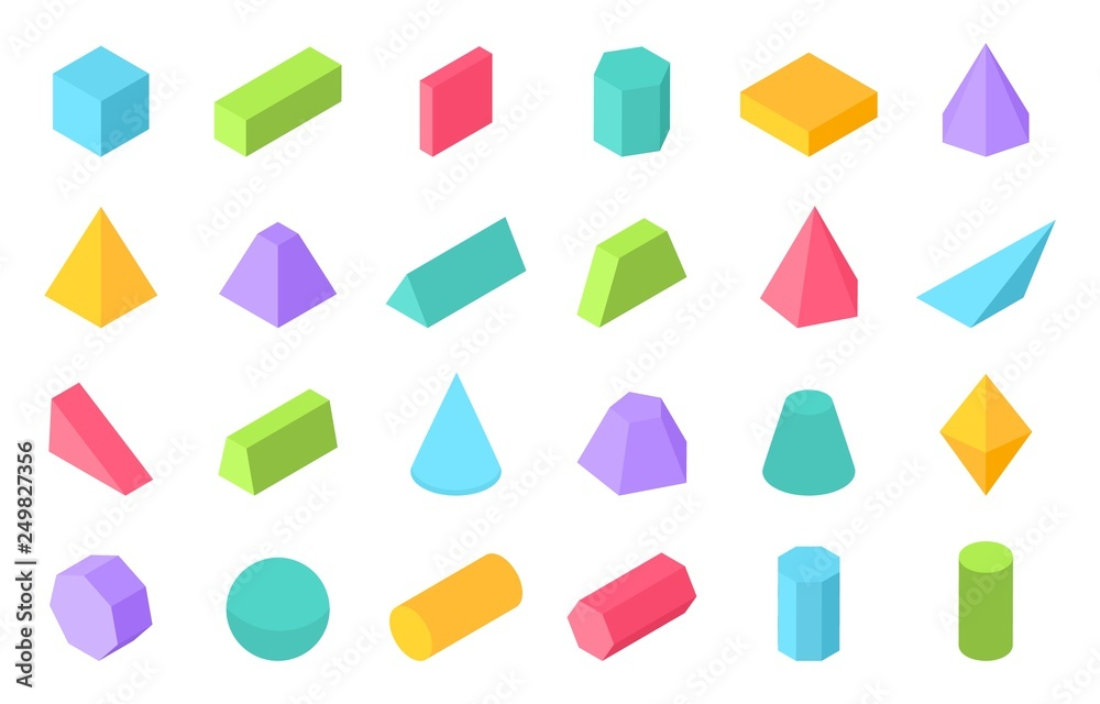 Fototapeta Isometric shapes. 3D geometric form, flat geometry polygon objects such as prism pyramid cylinder sphere. Vector isometric set