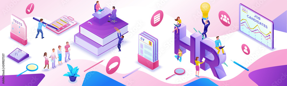 Fototapeta HR department isometric horizontal banner template, Recruitment agency, 3d employer hiring talent personnel, candidates search work via mobile app, office business people, vector illustration