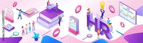 Obraz HR department isometric horizontal banner template, Recruitment agency, 3d employer hiring talent personnel, candidates search work via mobile app, office business people, vector illustration - fototapety do salonu