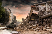 Tank T34 Amongst City Ruins With Dramatic Red And Dusty Clouds.