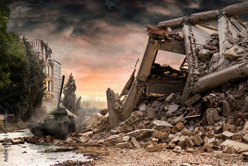 Fotografie, Obraz  Tank T34 amongst city ruins with dramatic red and dusty clouds.