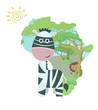 Africa color pattern. Zebra standing against the map of Africa. Vector illustration with landscape trees grass sky lion sun Zebra. Isolated on white background. – Vector