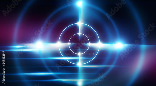 Fotografie, Obraz  Futuristic abstract background with neon target, laser beams and a searchlight