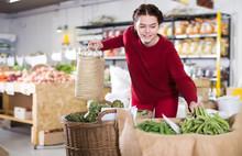 Ordinary Female Customer Looking Green Beans